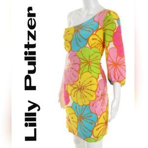 Lilly Pulitzer Dress Sequin Floral / One Shoulder